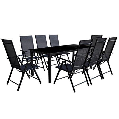 vidaXL-9-tlg-Gartenmbel-Set-Aluminium-Gartengarnitur-Essgruppe-Sitzgruppe-Klappstuhl-0