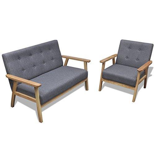 vidaXL-Retro-Holz-Sofaset-Couch-Sofagarnitur-Polstersessel-Polstersofa-Knopfdeko-Grau-0