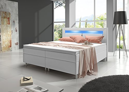 inter handels gmbh boxspringbett milano 180 200 cm kunstleder wei m bel24. Black Bedroom Furniture Sets. Home Design Ideas