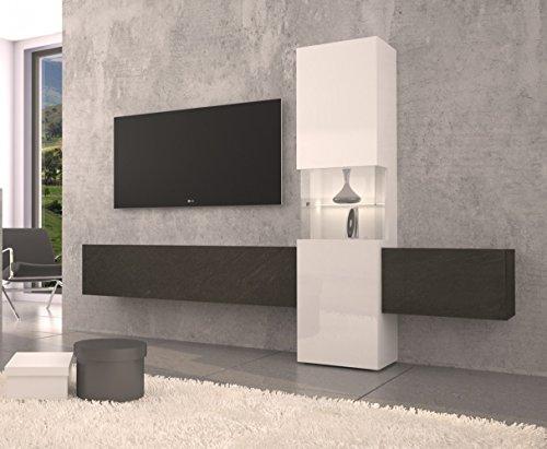 Wohnwand | Mediawand | Wohnzimmer-Schrank | Fernseh-Schrank | TV Lowboard |  weiß Hochglanz | modern...