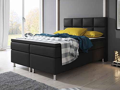 boxspringbett miami hotelbett betten 140x200 cm oder 180x200 cm mit visco topper schwarz. Black Bedroom Furniture Sets. Home Design Ideas