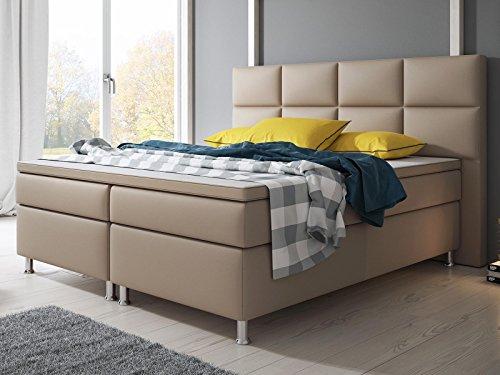 Boxspringbett MIAMI Hotelbett Betten 140x200 cm oder 180x200 cm mit Visco Topper (Muddy, 140x200 cm)