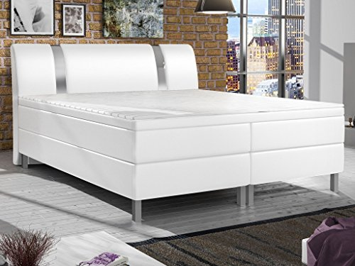m bel24 m bel g nstig boxspringbett polsterbett boxspringbetten betten 180x200 cm weiss inkl. Black Bedroom Furniture Sets. Home Design Ideas