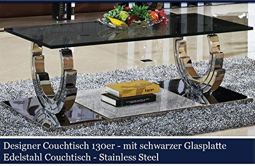 m bel24 designer couchtisch edelstahl wohnzimmertisch glastisch glas hochglanz schwarzer. Black Bedroom Furniture Sets. Home Design Ideas