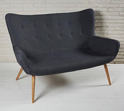 Elegantes-2-Sitzer-Polstersofa-134cm-dunkelgrau-mit-Knopfheftung-und-Armlehnen-Stoffcouch-fr-Ihr-Wohnzimmer-Stoffbezug-Zweisitzer-Holzbeine-Stoff-0