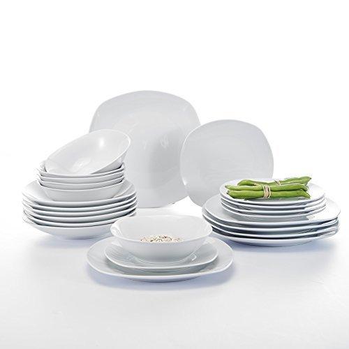 Malacasa, Serie Elisa, 24 teilig Set Porzellan Tafelservice Kombiservice Geschirrset mit je 6 Speiseteller, 6 Dessertteller, 6 Suppenteller, 6 Schüsseln für 6 Personen
