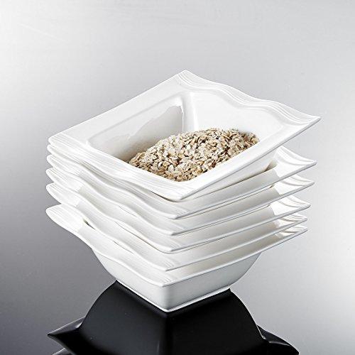 Malacasa-Serie-Mario-6-tlg-Set-Cremewei-Porzellan-55-Zoll-141455cm-Schssel-Schalen-Mslischssel-Reisschssel-Salatschsseln-Dessertschalen-Bowl-fr-6-Personen-0