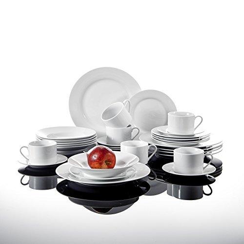 malacasa tafelservice 30 teilig kombiservice weiss porzellan geschirrset im schnen design rund. Black Bedroom Furniture Sets. Home Design Ideas