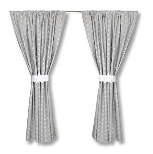 amilian kinderzimmer vorh nge 155 x 155 cm set mit schlaufen baby gardinen vorhang sternchen. Black Bedroom Furniture Sets. Home Design Ideas