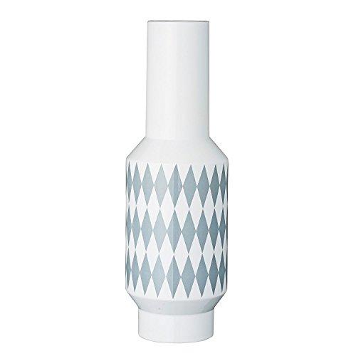 Bloomingville Vase Diamond, weiß/grau (Ø 14 x 43cm)