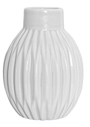 Bloomingville-Vase-geriffelt-matt-wei-Blumenvase-skandinavisch-Porzellan-Hhe-11-cm-0