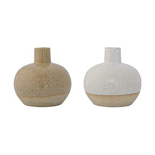 Bloomingville Vasen Barbara, weiß/gelb, 2 Stück W11,5xH11,5 cm [SET]