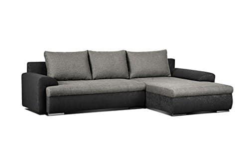 m bel24 cavadore 5171 polsterecke l form ecksofa schaumstoff dunkelgrau schwarz 262 x 163 x 69. Black Bedroom Furniture Sets. Home Design Ideas