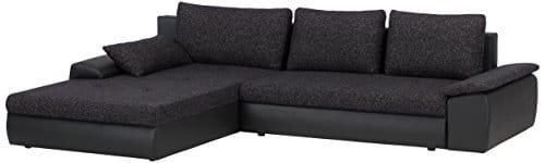 Cavadore-885-Polsterecke-Peerly-Longchair-links-2-Sitzer-mit-Bettfunktion-und-Bettkasten-rechts-309-x-82-x-213-cm-Sitz-in-Vilnius-schwarz-Korpus-in-Poroflex-Softy-schwarz-0