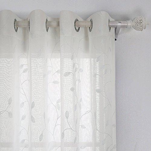 Deconovo-Voile-Vorhnge-mit-sen-Vorhnge-Durchsichtig-Gardinenschals-mit-Stickerei-175x140-cm-Creme-Blatt-2er-set-0