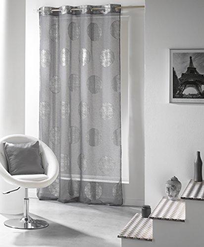 Douceur-DIntrieur-1623226-Gardine-Mit-Osen-140-X-240-Cm-Platine-Voile-Bedruckt-Silber-Grau-0