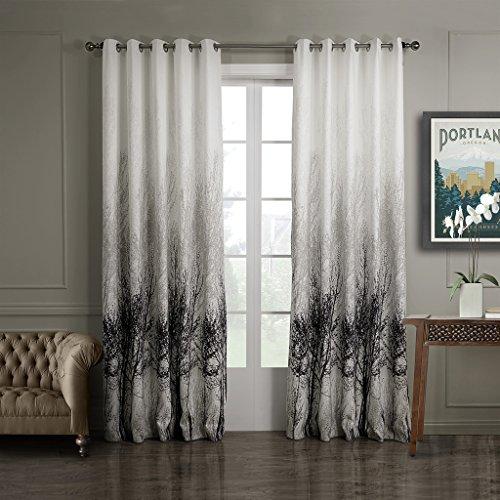 GWELL-Elegant-Baumblatt-Druck-Vorhang-Blickdicht-Schal-mit-sen-TOP-QUALITT-Gardine-fr-Wohnzimmer-Schlafzimmer-grau-cream-1er-Pack-160x100cm-0