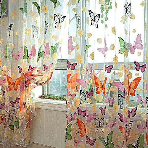 MAKKA-Farbige-Schmetterling-Gardine-Transparent-Vorhang-Zimmer-Deko-200-x-100cm-0
