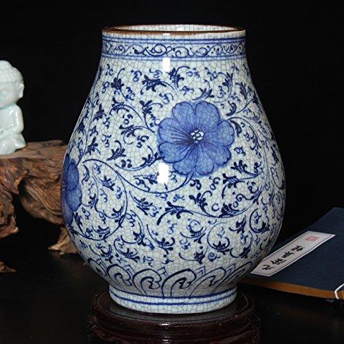 Maivace Keramische Vase dekorative Ornamente Blumen-Arrangement Keramik handbemalt Antiken gebrochene Glasur blau und weiß Porzellan Blumenarrangements