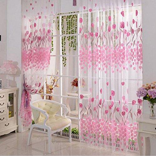 Rosa-Tulpe-Printed-Tll-Vorhangstoffe-Sheer-Panel-amerikanische-Land-Art-0
