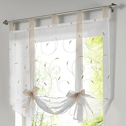 Souarts-Sandbraun-Stickerei-Blumen-Transparent-Gardine-Vorhang-Raffgardinen-Raffrollo-Schlaufenschal-Deko-fr-Wohnzimmer-Schlafzimmer-Studierzimmer-120x140cm-0