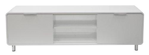 tenzo 8433-001 Step - Designer TV-Bank weiß, MDF lackiert matt, Griffe und Füße aus Metall, 47 x 161 x 44 cm