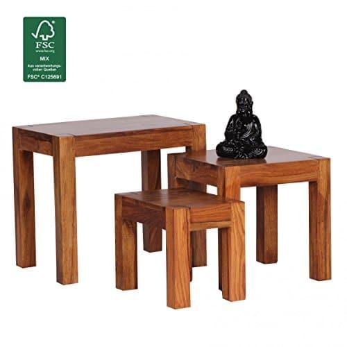 finebuy 3er set satztisch massivholz sheesham wohnzimmer. Black Bedroom Furniture Sets. Home Design Ideas