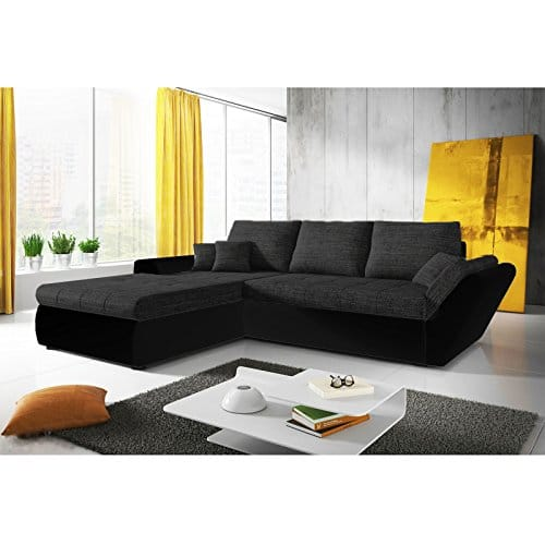sofa polsterecke capri schwarz strukturstoff schwarz ecksofa von jalano schlafsofa l form. Black Bedroom Furniture Sets. Home Design Ideas