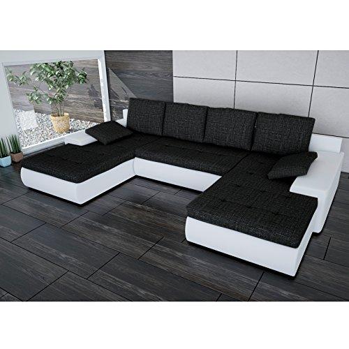 sofa polsterecke linosa wei strukturstoff schwarz ecksofa von jalano wohnlandschaft u form. Black Bedroom Furniture Sets. Home Design Ideas