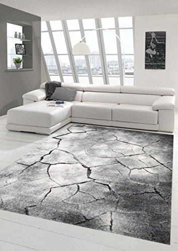 Teppich-Traum Designerteppich Moderner Teppich Steinoptik Wohnzimmerteppich Öko-Tex in Grau Schwarz, Größe 160x230 cm