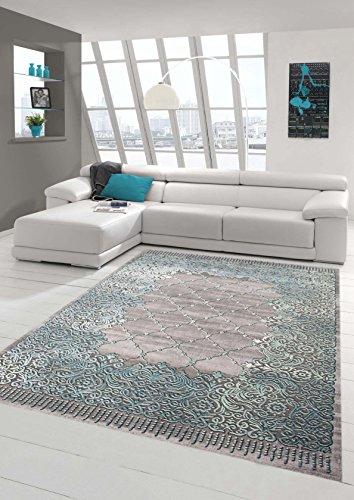 Teppich-Traum Designerteppich Moderner Teppich Wohnzimmerteppich Kurzflor Bordüre und Ornamente mit Konturenschnitt in Grau Türkis, Größe 80x300 cm