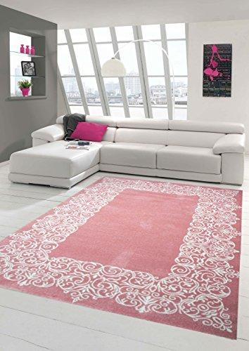 Teppich-Traum Designerteppich Moderner Teppich Wohnzimmerteppich Kurzflor Teppich mit Bordüre Rosa Weiß, Größe 200x290 cm