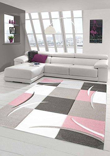 Teppich-Traum Designerteppich Moderner Teppich Wohnzimmerteppich Kurzflor Teppich mit Konturenschnitt Karo Muster Rosa Weiß, Größe 80x150 cm