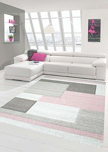 Teppich-Traum Designerteppich Moderner Teppich Wohnzimmerteppich Kurzflor Teppich mit Konturenschnitt Karo Muster Pastellfarben Rosa Beige, Größe 160x230 cm