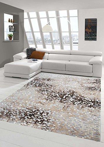 Teppich-Traum Designerteppich Moderner Teppich Wohnzimmerteppich Kurzflor Teppich mit Konturenschnitt in Grau Braun Beige, Größe 120x170 cm