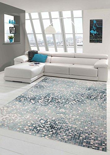 Teppich-Traum Designerteppich Moderner Teppich Wohnzimmerteppich Kurzflor mit Konturenschnitt Kariert in Grau Türkis Weiß, Größe 200x290 cm