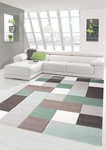 Teppich-Traum Designerteppich Moderner Teppich Wohnzimmerteppich Kurzflor mit Konturschnitt (Karo Muster) Öko-Tex in Grau Grün Weiß, Größe 80x150 cm