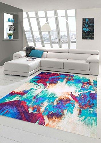 Teppich-Traum Designerteppich Moderner Teppich Wohnzimmerteppich Meliert Bunt in Türkis Lila Weiß, Größe 160x230 cm