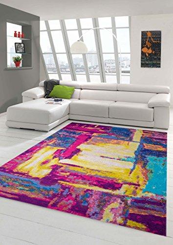 Teppich-Traum Designerteppich Moderner Teppich Wohnzimmerteppich Orientteppich bunt in Gelb Türkis Lila, Größe 160x230 cm