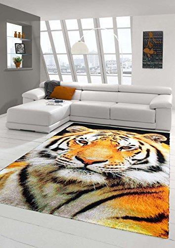 Teppich-Traum Designerteppich Moderner Teppich Wohnzimmerteppich Tiger Orange Creme Schwarz, Größe 160x230 cm