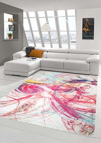 Teppich-Traum Designerteppich Moderner Teppich Wohnzimmerteppich mit Kreismuster Bunt in Rot Gelb Türkis, Größe 160x230 cm