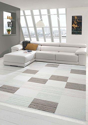 Teppich-Traum Designerteppich Moderner Teppich Wollteppich Wohnzimmerteppich Karo Muster in Beige Creme Türkis Rosa, Größe 160x230 cm