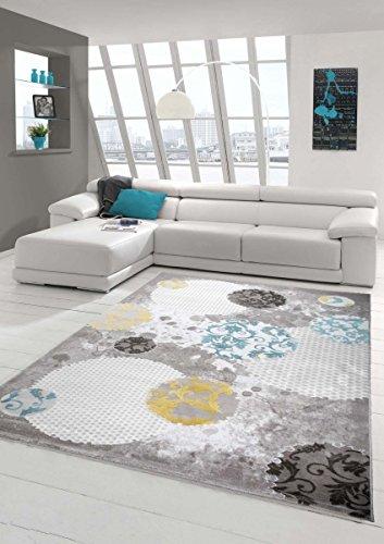 Teppich-Traum Moderner Teppich Wollteppich Wohnzimmerteppich Design in Türkis Grau Beige, Größe 160x230 cm