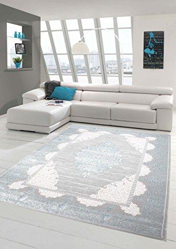 Teppich-Traum Wollteppich Designerteppich Moderner Teppich Wohnzimmerteppich Orientteppich mit Ornamente Meliert in Grau Türkis, Größe 200x290 cm