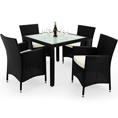 deuba poly rattan 4 1 sitzgruppe schwarz 7cm dicke. Black Bedroom Furniture Sets. Home Design Ideas