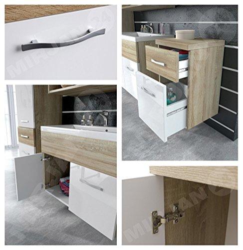 m bel24 m bel g nstig badm bel set bella ii mit waschbecken und siphon modernes badezimmer. Black Bedroom Furniture Sets. Home Design Ideas