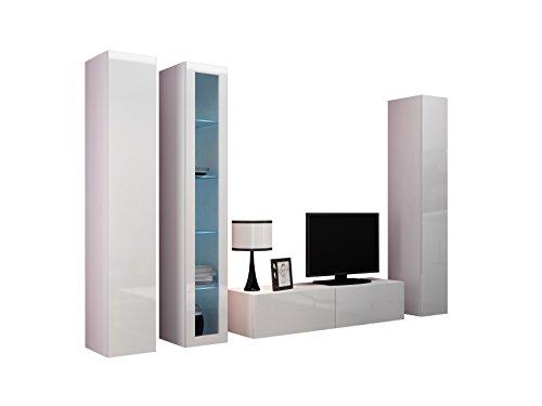 Wohnwand VIGO XV Anbauwand Modernes Wohnzimmer set, Mediawand, Glasvitrine, Hängeschrank TV-Schrank (ohne Beleuchtung, Weiß / Weiß Hochglanz)
