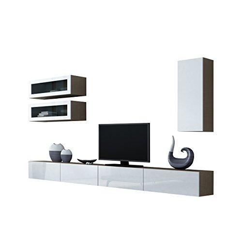 Wohnwand VIGO XI Anbauwand Modernes Wohnzimmer set, Farbauswahl, Mediawand, Glasvitrine, Hängeschrank TV-Schrank (ohne Beleuchtung, Latte / Weiß Hochglanz)