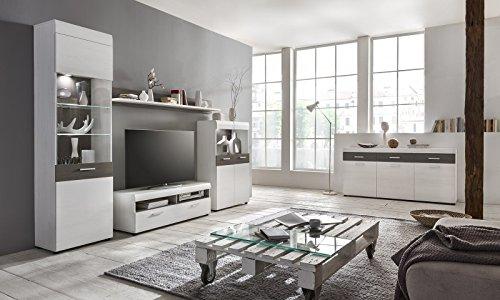 m bel24 m bel g nstig wohnwand 39 emmy 39 landhaus wei dunkle eiche 1. Black Bedroom Furniture Sets. Home Design Ideas