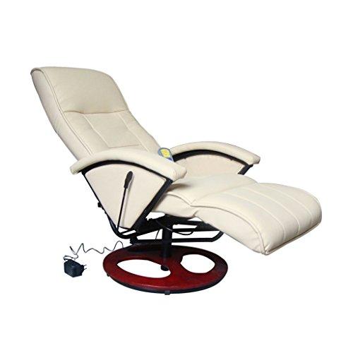 vidaXL Massagesessel Fernsehsessel Relaxsessel Massage+Heizung TV Sessel CREME NEU 3